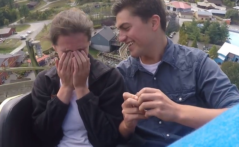 This couple got engaged on a roller coaster because #thrillseekers