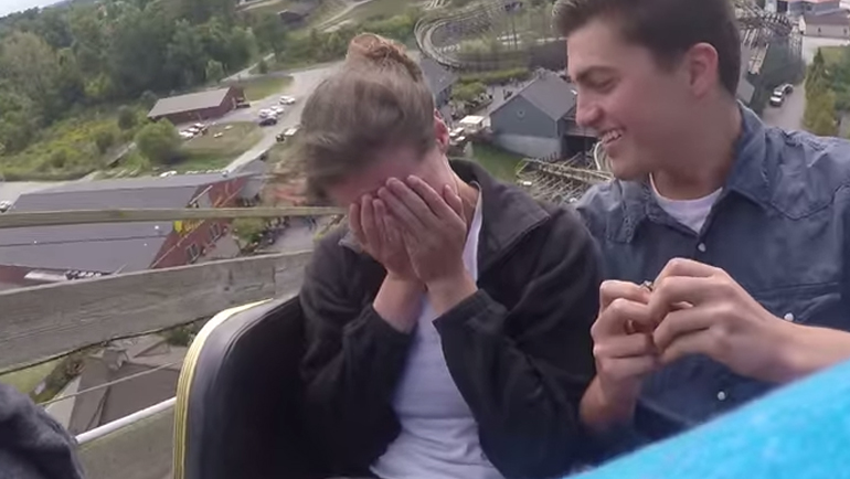 And this is how you propose to somebody on a roller coaster