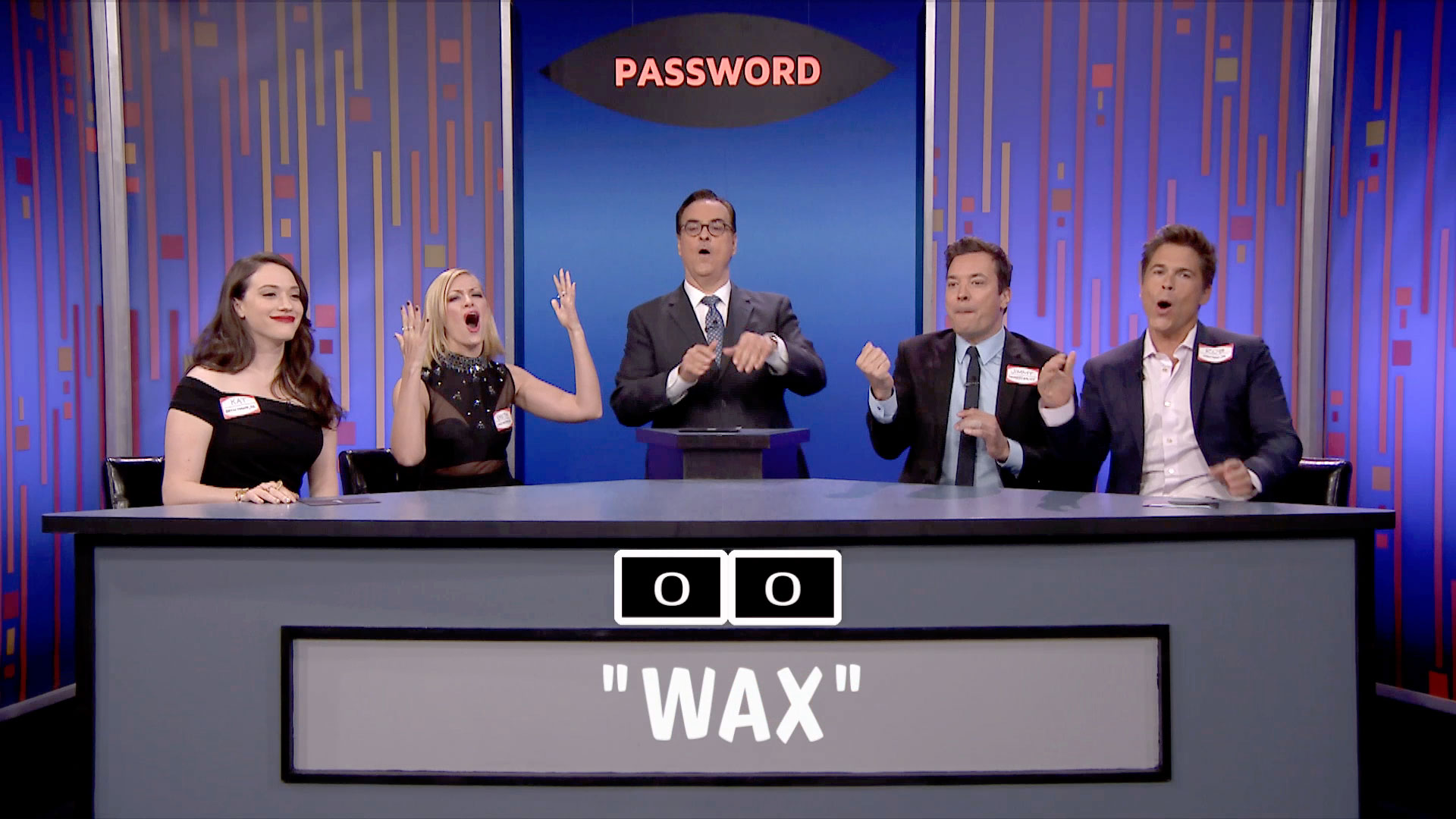 Busy watching Jimmy Fallon play 'Password' with 2 Broke Girls and Rob Lowe