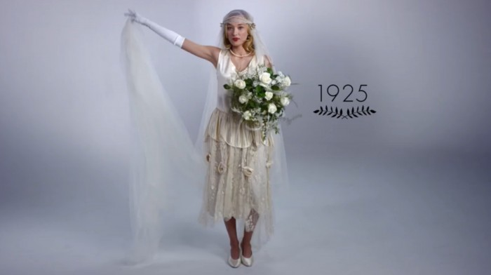 This video shows 100 years of wedding dress fashion in 3 minutes