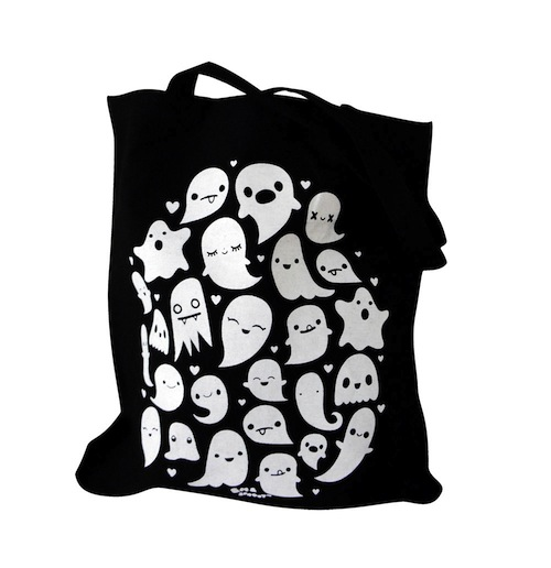 A ghost-themed tote bag that's cute enough for the whole year
