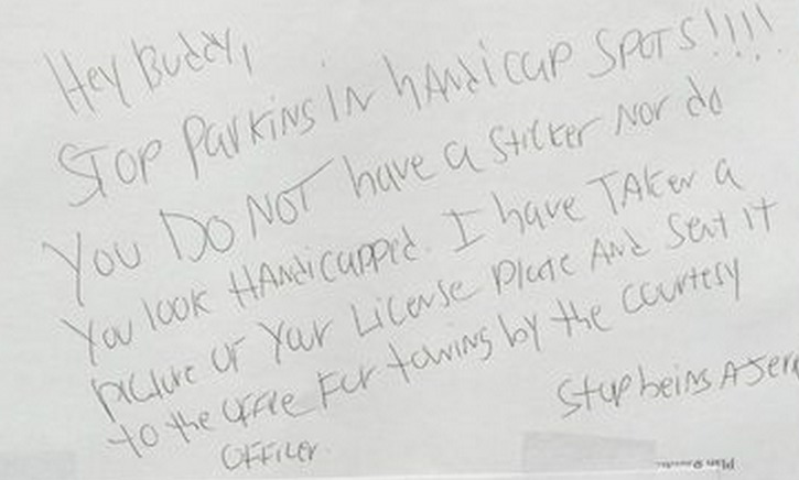 "Note left on veteran's car says he doesn't ""look handicapped."" Veteran's response deserves all the applause"