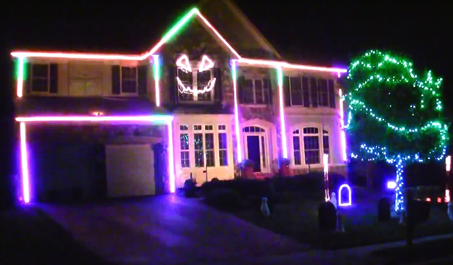 This guy is single-handedly making Halloween light displays a thing