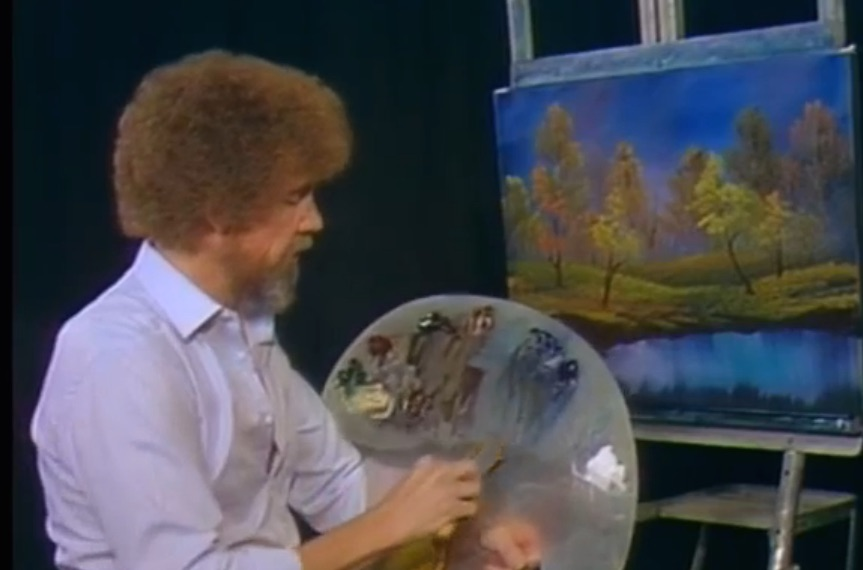 We're streaming Bob Ross 'The Joy of Painting' episodes all day. ALL DAY!