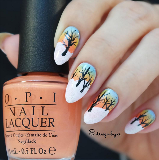Nails of the Day: Icy sunrise