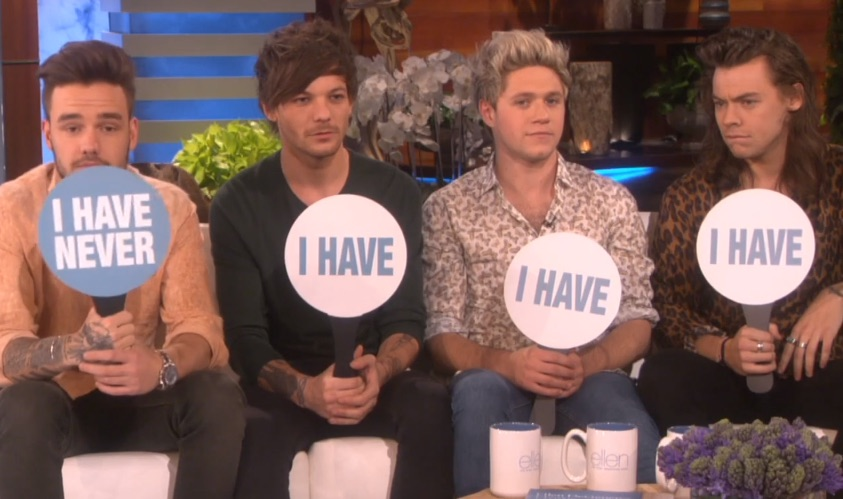 "One Direction just played the juiciest game of ""Never Have I Ever"" with Ellen"