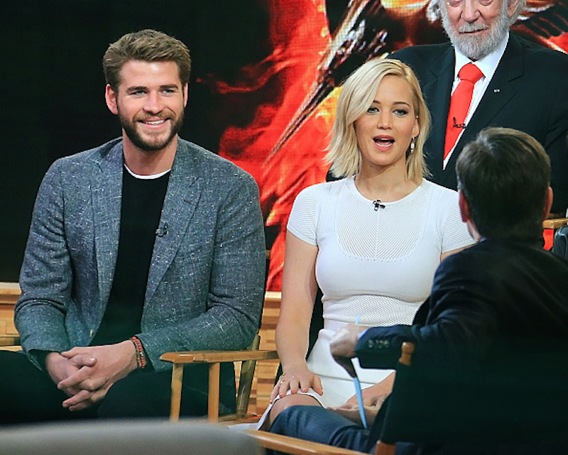 NEW YORK, NY - NOVEMBER 18:  Liam Hemsworth and Jennifer Lawrence are seen on November 18, 2015 in New York City.  (Photo by XPX/Star Max/GC Images)