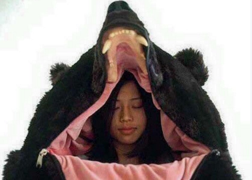 This bear sleeping bag is totally next level