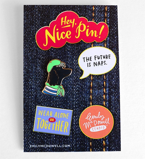 These pins look like cute animals having a conversation on your clothing