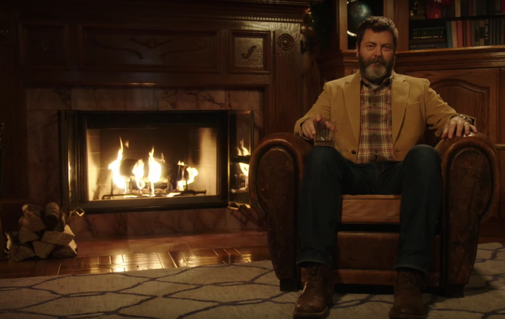 And now, a 45-minute video of Nick Offerman sipping whiskey by the fire