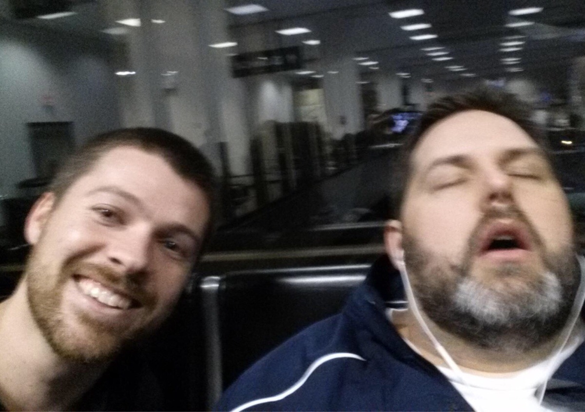 Man can sleep anywhere, has the selfie to prove it