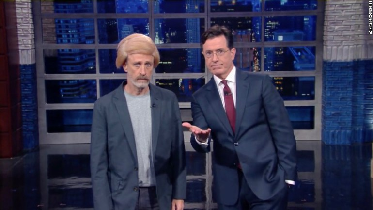 Jon Stewart reunited with Stephen Colbert last night and it was classic