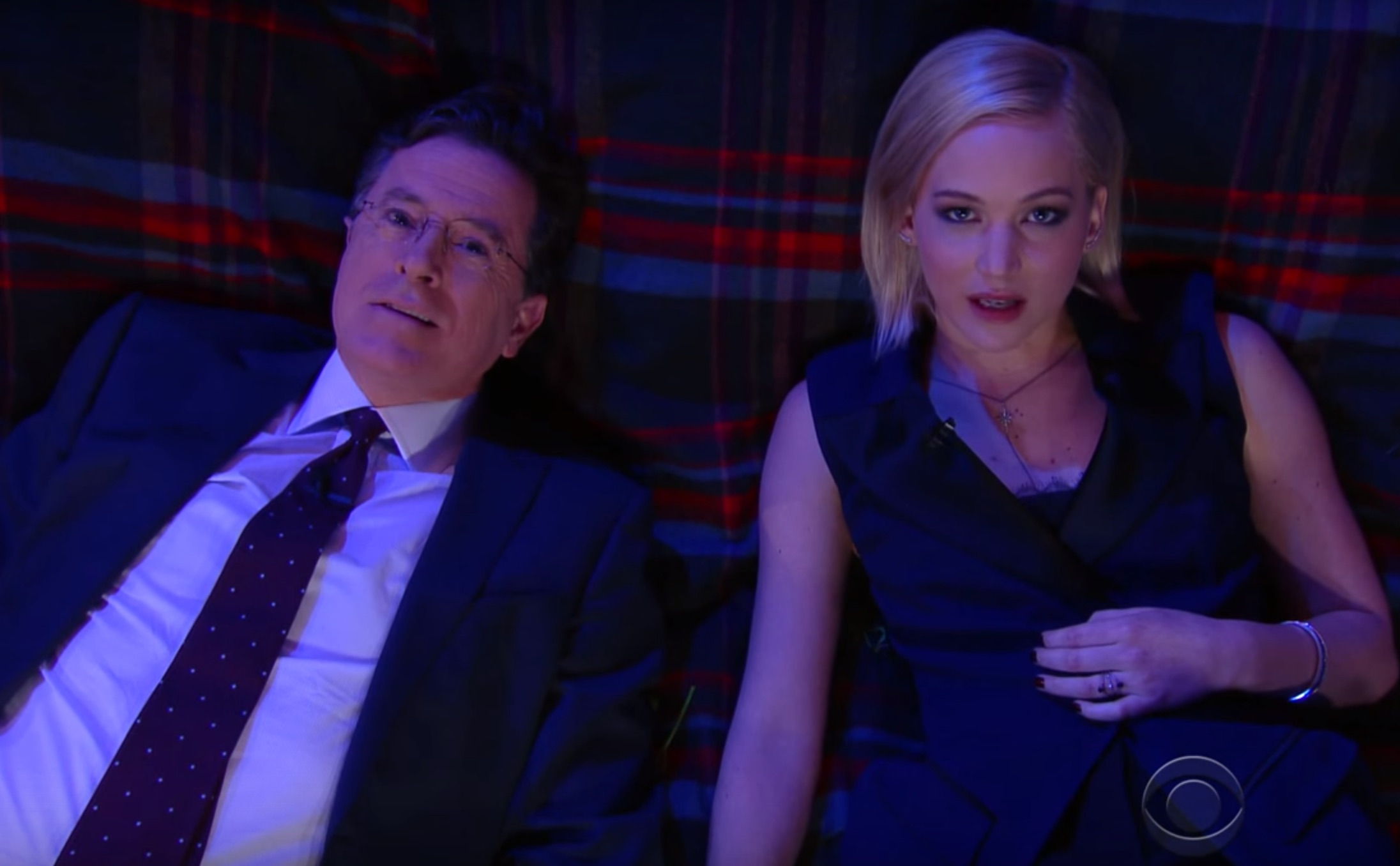 Jennifer Lawrence and Stephen Colbert asked each other deep questions under the stars