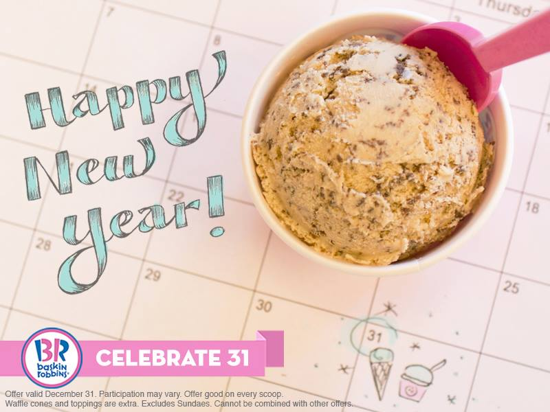 Baskin-Robbins is offering $1.31 scoops to ring in the New Year