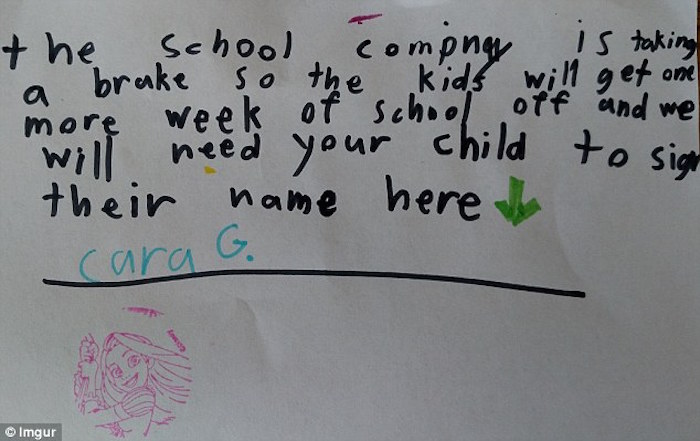 This little girl's note makes a compelling case as to why there is no school today. We salute her.