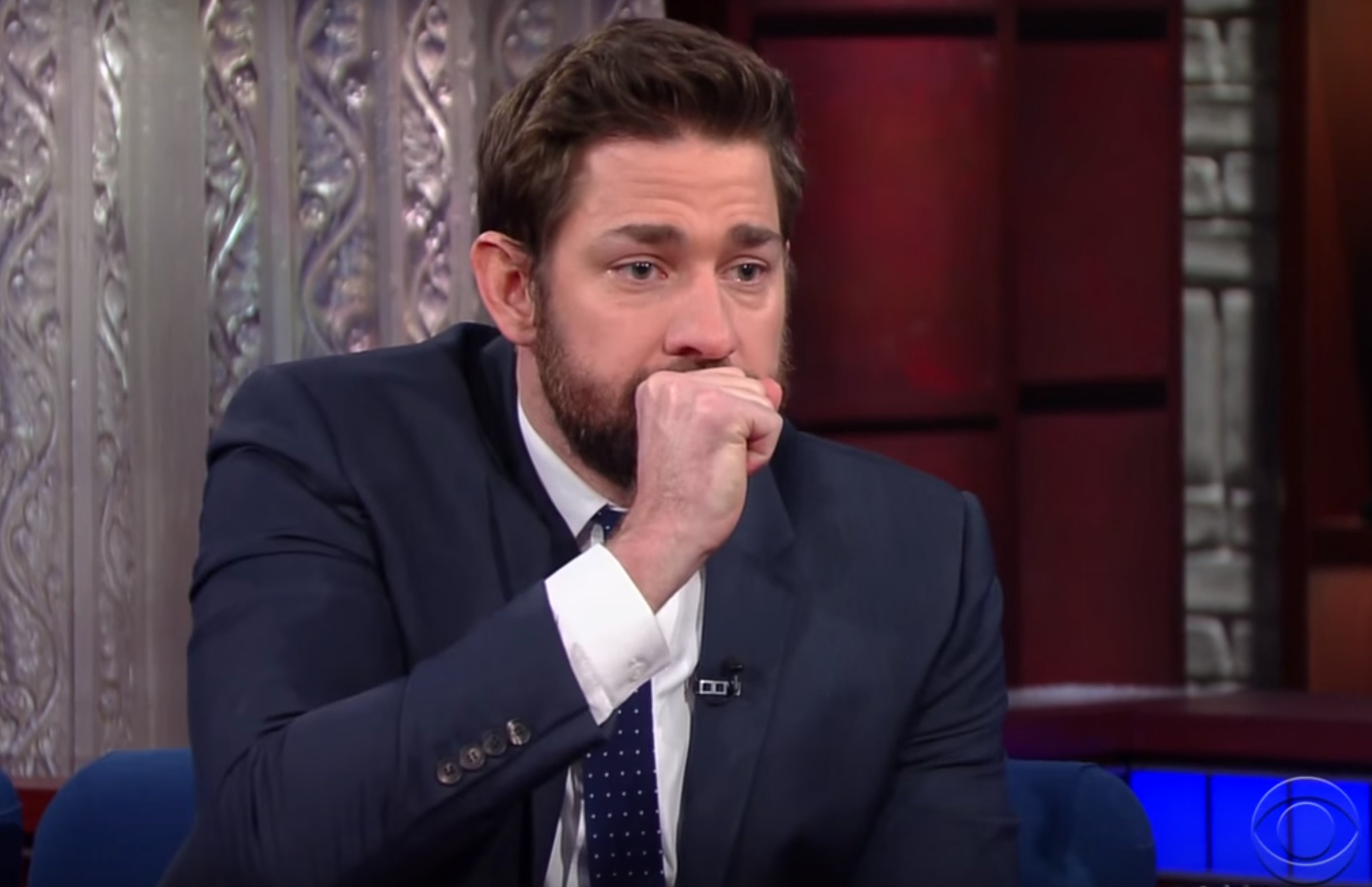 John Krasinski and Stephen Colbert had a fake vomit-off and they both won