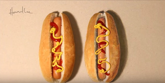 We can't tell which hot dog is real and which one is just a drawing