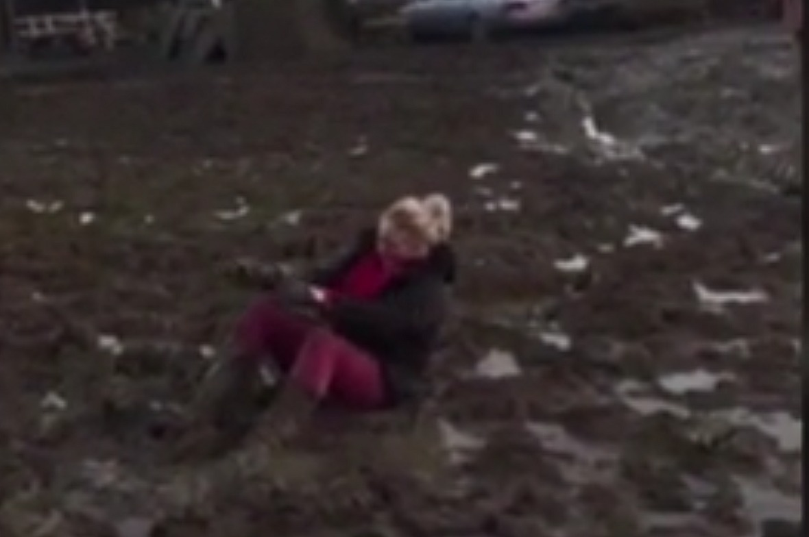 Granny gets stuck in mud, falls, totally wins our hearts