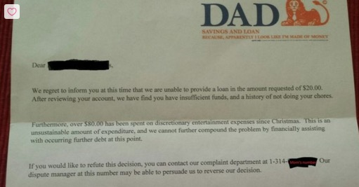 Kid requests an advance on his allowance, hilarious dad responds with a rejection notice