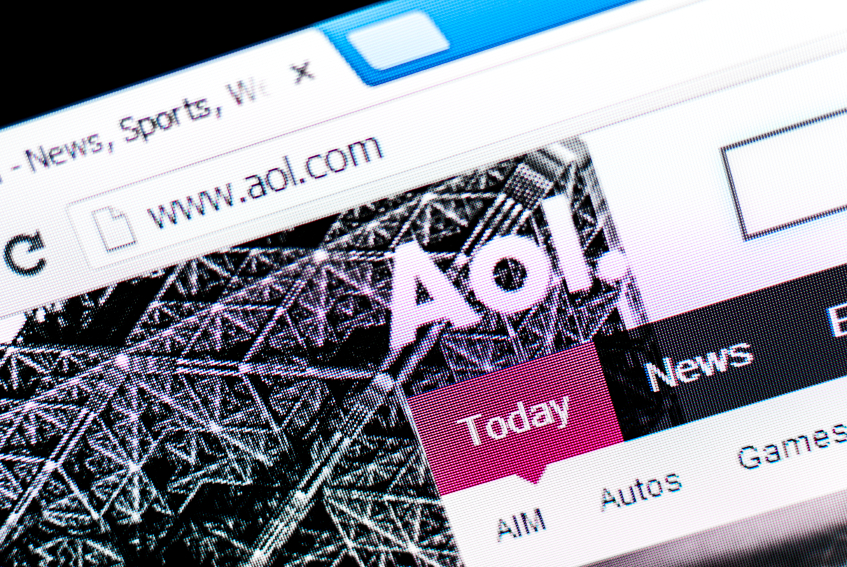 Cali, Colombia - May 21h, 2013: AOL website on a computer screen. AOL's business spans online content, products and services for consumers, publishers and advertisers.