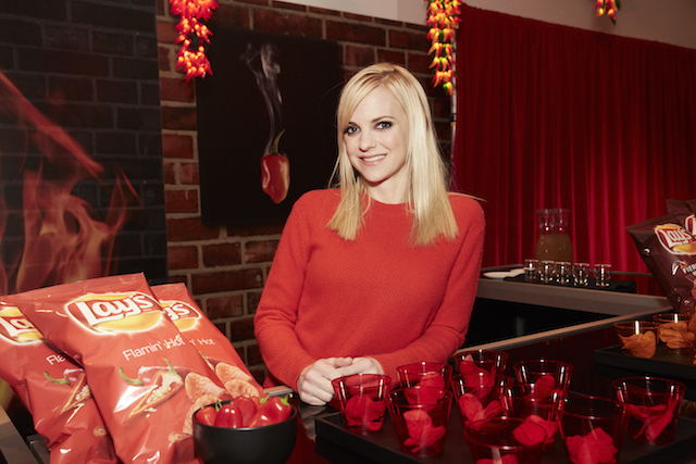 "Flavor enthusiast and actress Anna Faris reveals the all-new Lay's ""Flavor Swap"" program – where America helps decide which flavors stay and which go – at an immersive launch event in New York City on January 20, 2016. (Stephanie Diani/AP Images for Frito-Lay)"