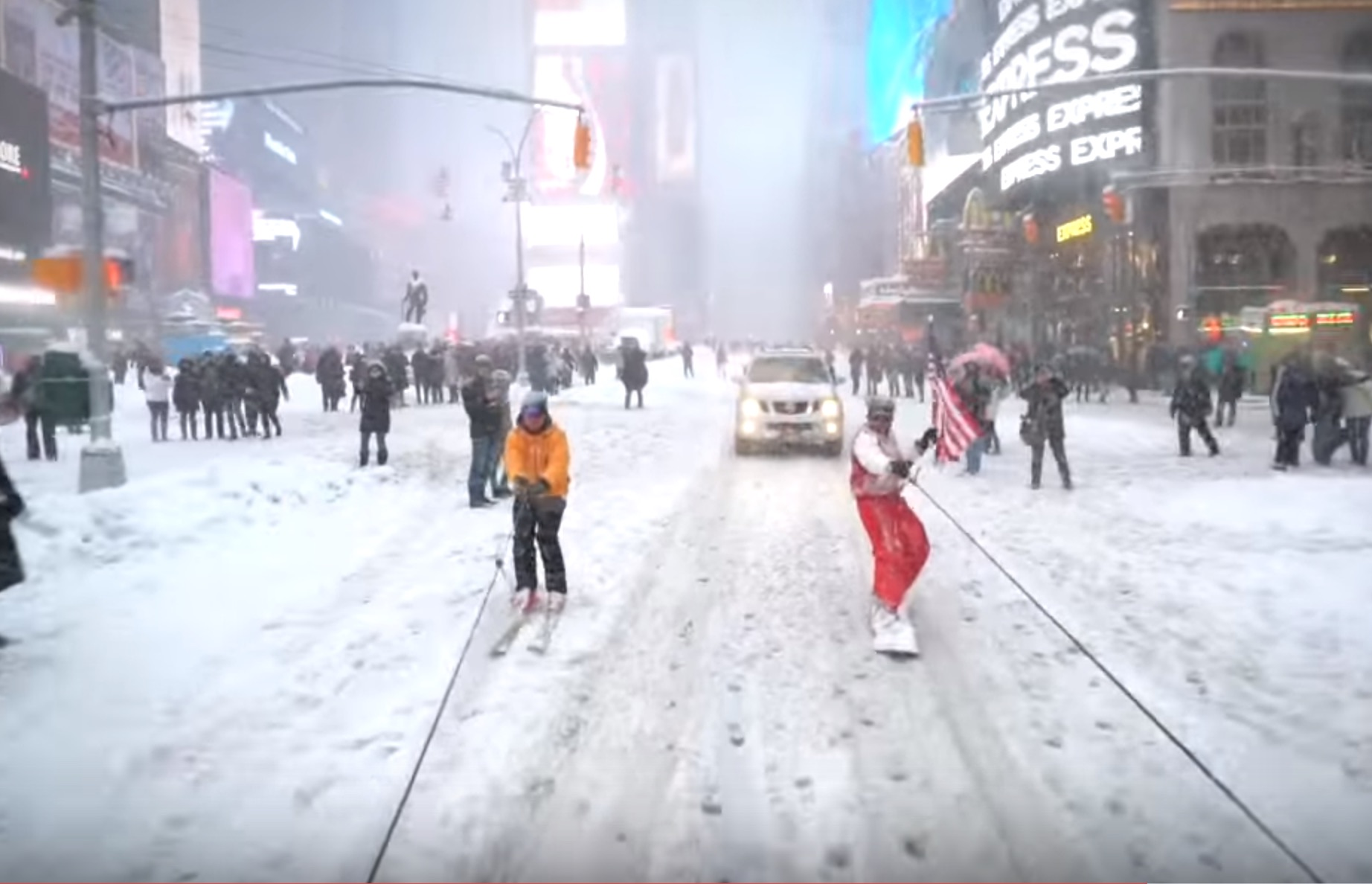 Just a YouTuber snowboarding through New York City, like you do