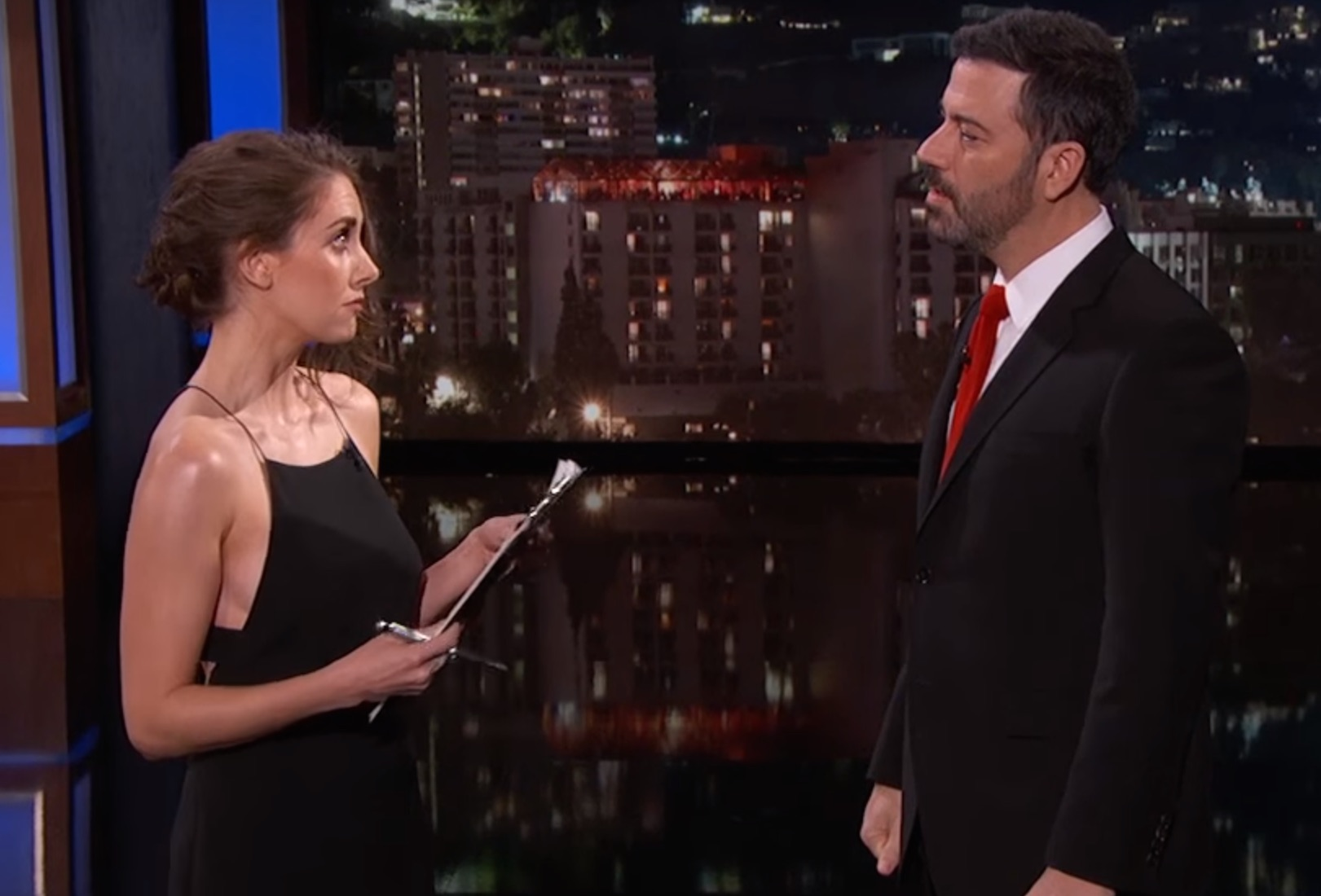 Alison Brie desperately tried to sell Jimmy Kimmel some Girl Scout Cookies