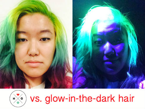 We were intrigued by glow-in-the-dark hair. So, we tried it.