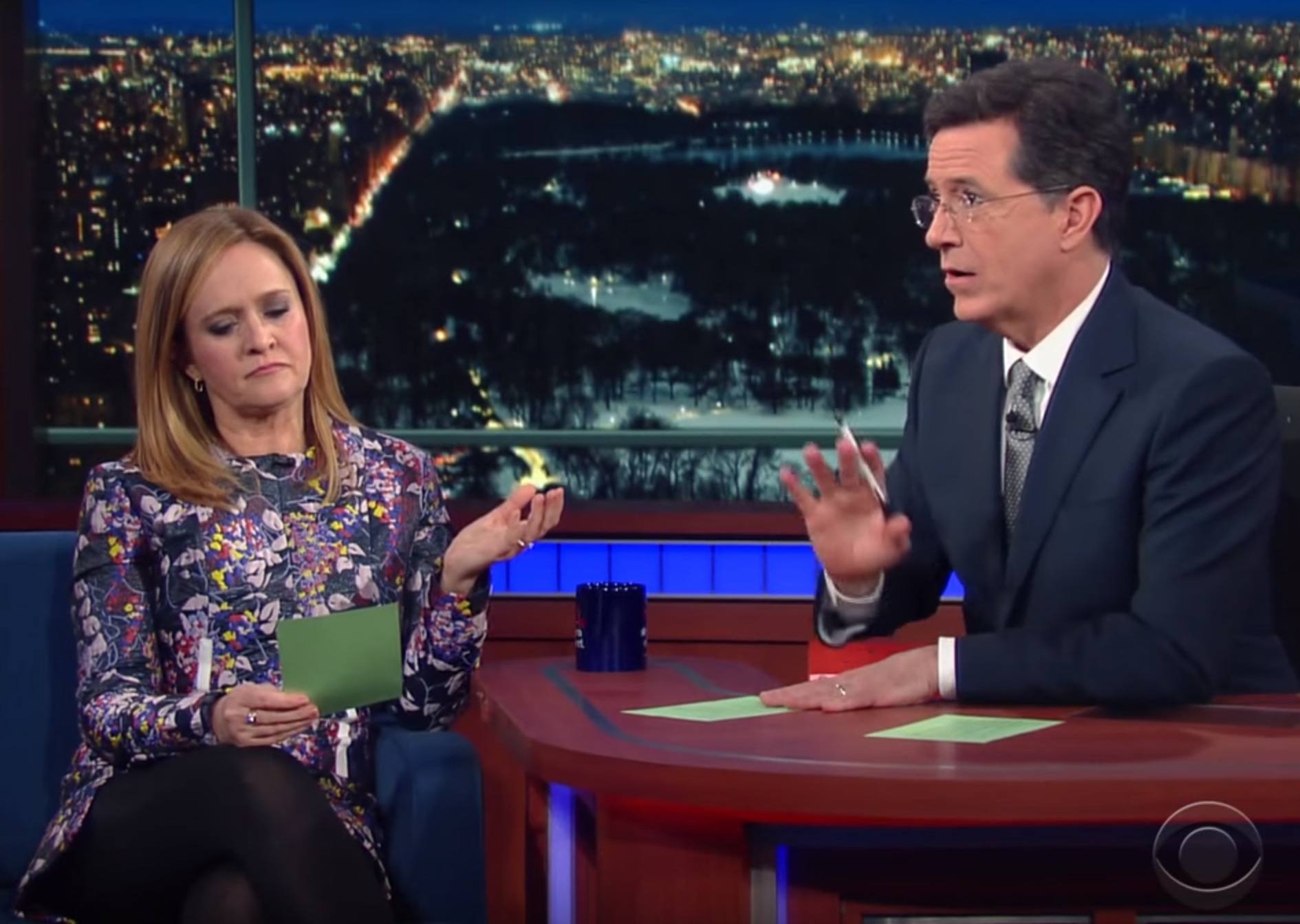 Samantha Bee and Stephen Colbert solve the one problem she'll have as a late-night talk show host
