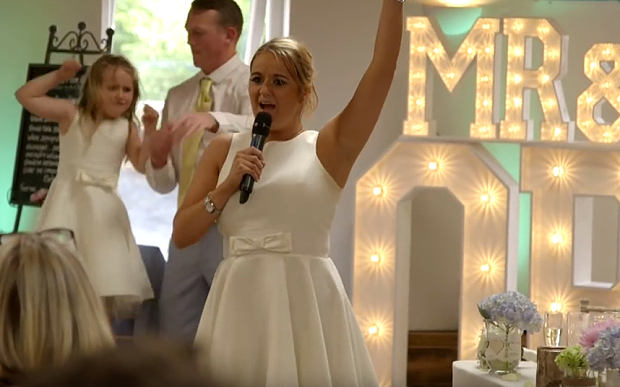 "Best bridesmaid ever performs epic wedding version of ""Ice, Ice Baby"""