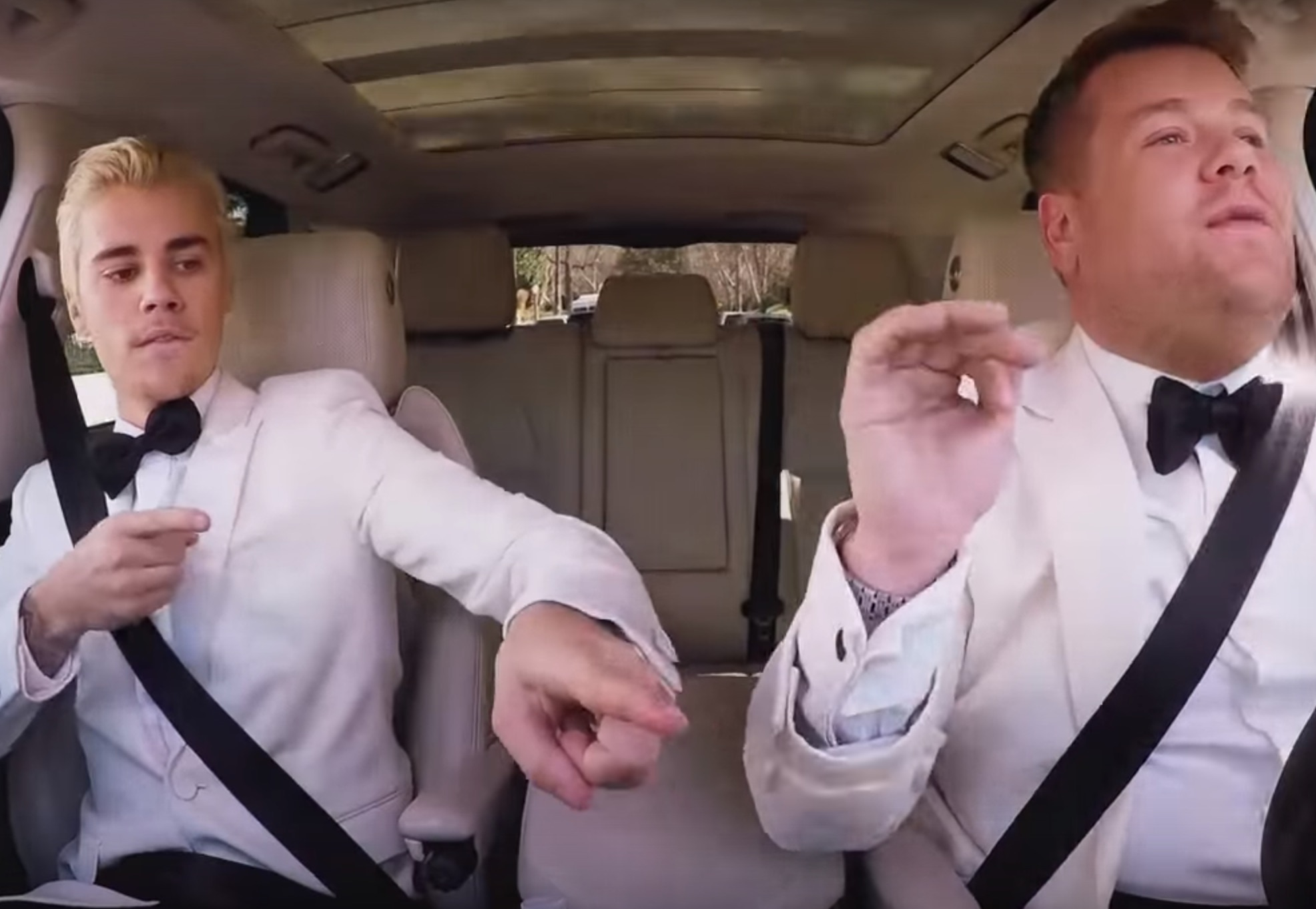 Justin Bieber and James Corden carpooled home from the Grammys