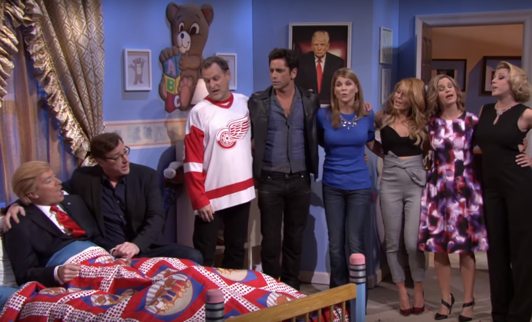 "Watch the cast of ""Fuller House"" tuck Donald Trump into bed"