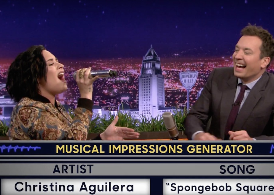 "Watch Demi Lovato sing 'Spongebob Squarepants"" as Christina Aguilera"