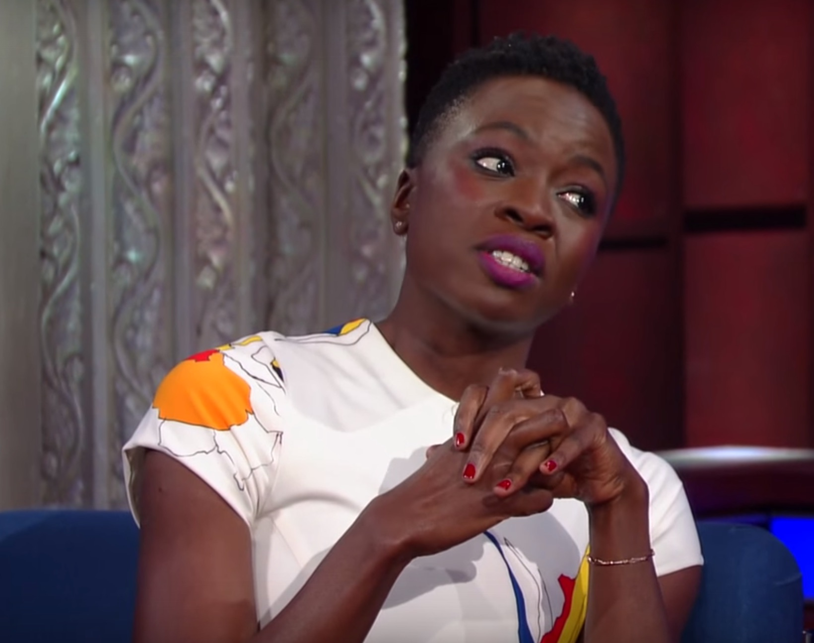 """The Walking Dead"" star Danai Gurira tells Stephen Colbert how to survive the zombie apocalypse"