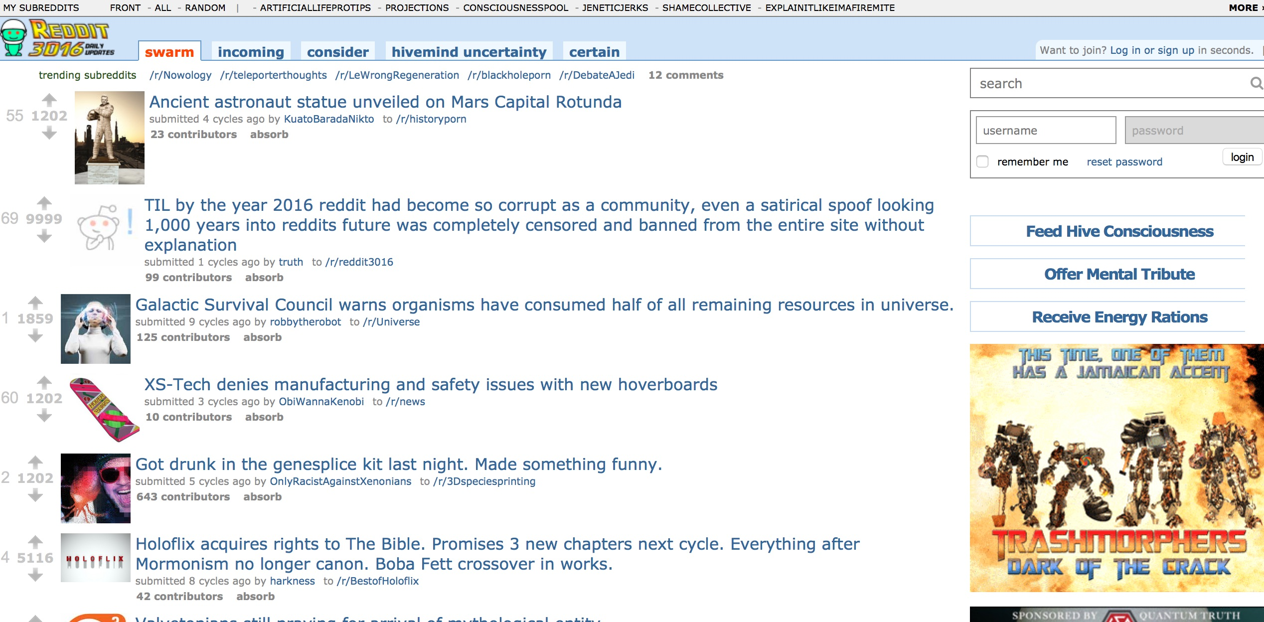 Some guy just spent lots and lots of time imagining what Reddit will look like in 3016