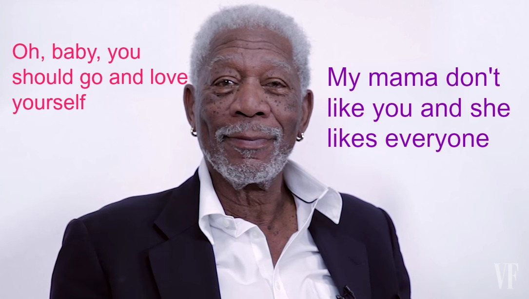 "Here's Morgan Freeman reading Justin Bieber's ""Love Yourself"" because you deserve it today"