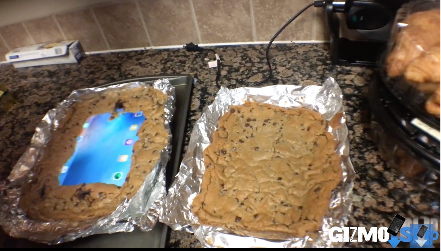 This is what happens when you bake your iPad into a cookie (and drop it off a building)