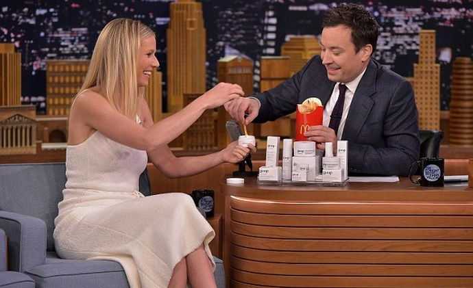 Gwyneth Paltrow gives Jimmy Fallon Goop skin-care products, he proceeds to eat them