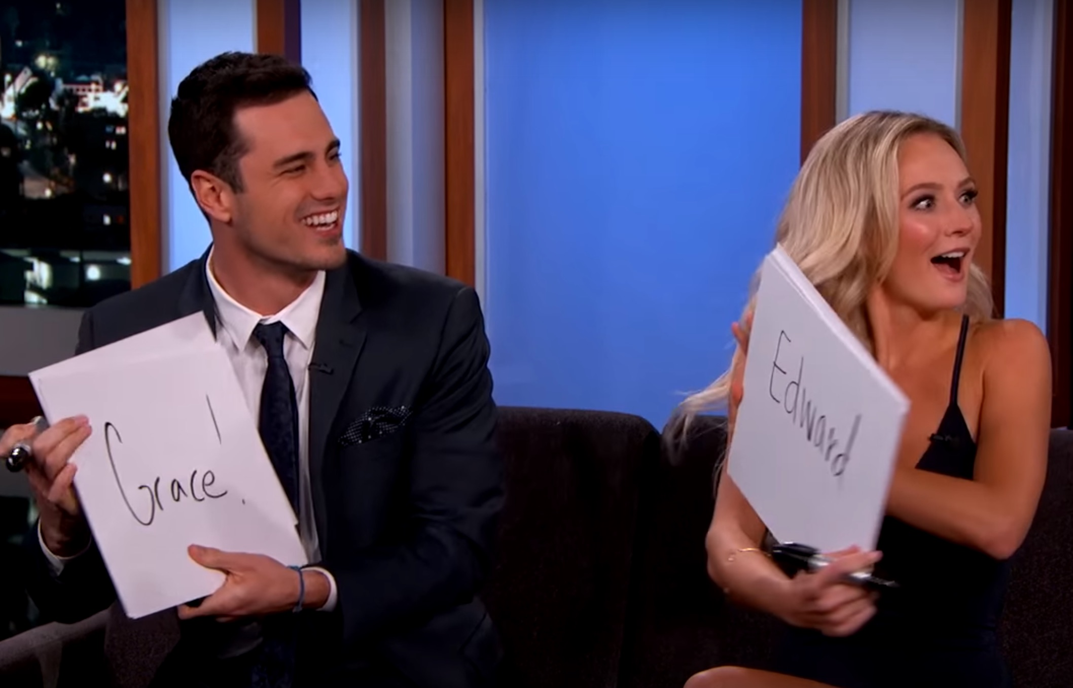 "Jimmy Kimmel quizzed ""The Bachelor""'s Ben Higgins and Lauren Bushnell on their relationship"