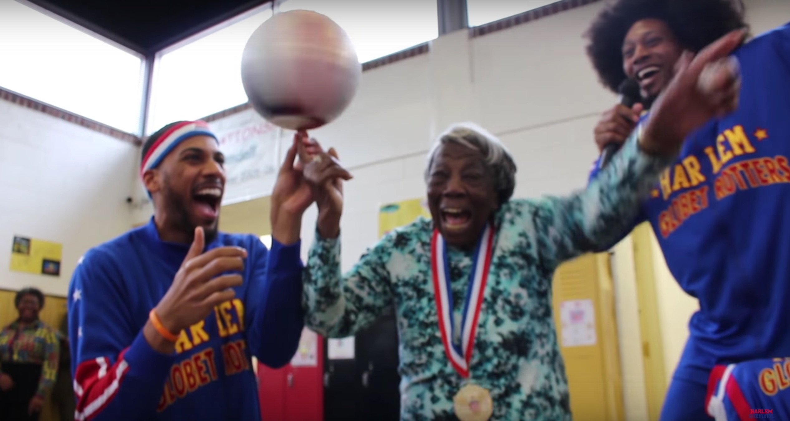 107 year-old woman shows off some serious basketball moves