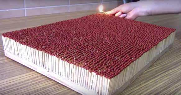 You won't be able to take your eyes off these 6,000 matches catching fire like dominoes