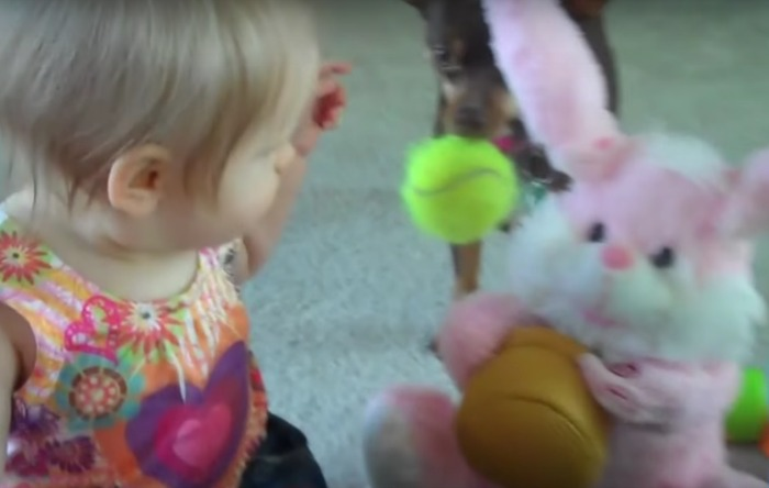 This baby just had the most intense dance-off against a toy Easter bunny
