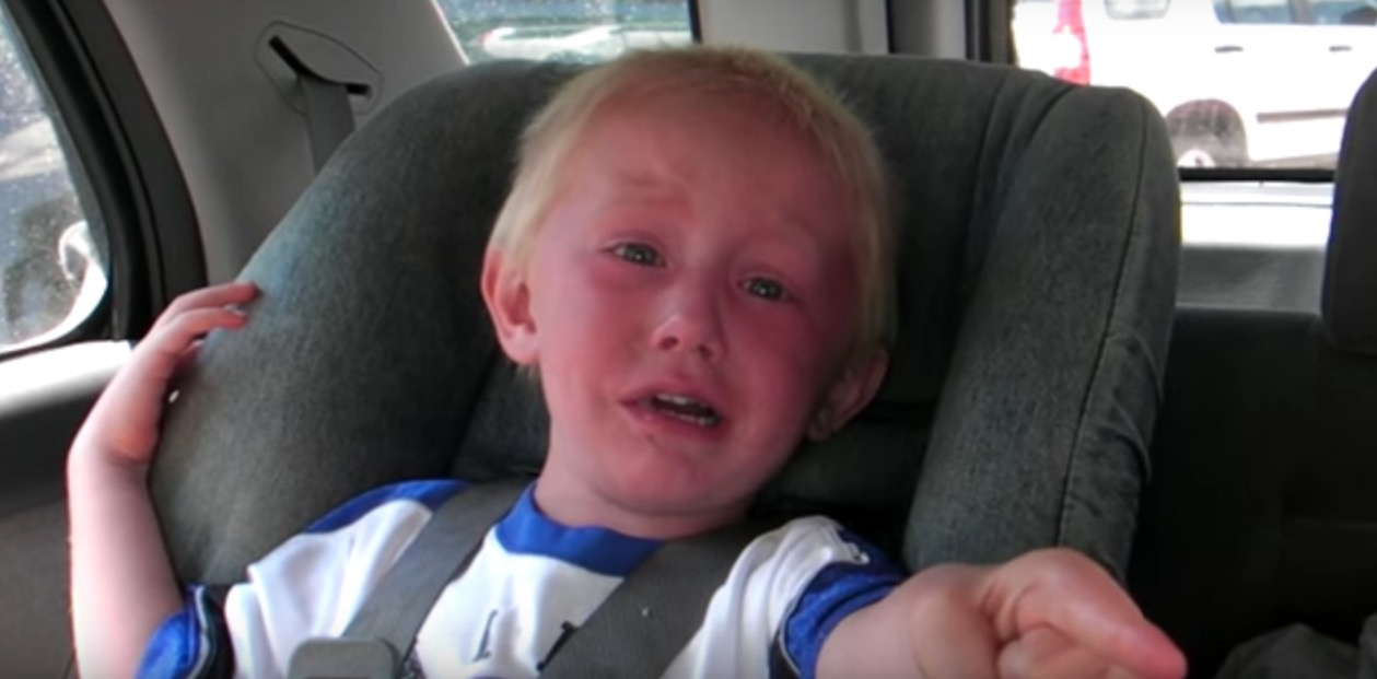 "This little boy lost all chill because the GPS said ""bear right"" and he's convinced there's an actual bear"