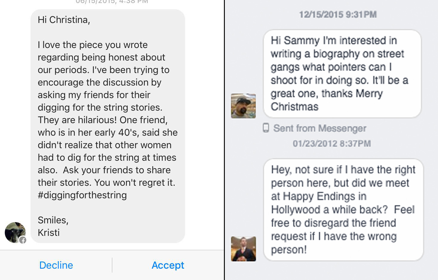 We went into our secret Facebook inboxes and found some really weird things