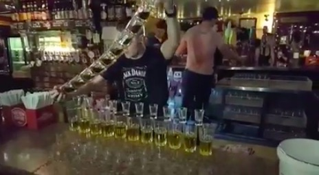 This viral video shows maybe the most legendary bartender ever