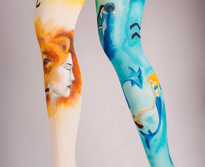 We need these hand-painted tights on our legs
