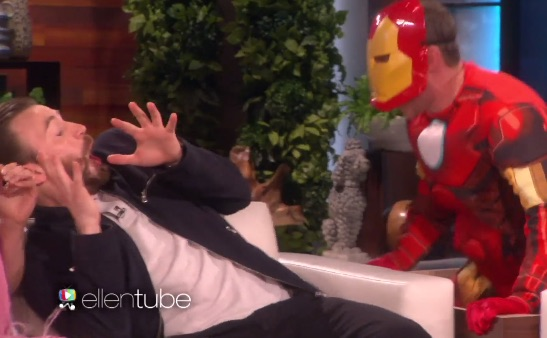 You need to watch Ellen DeGeneres scare the stars and stripes off of Chris Evans