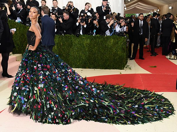 Zoe Saldana is giving us major Met Gala goals with her peacock dress