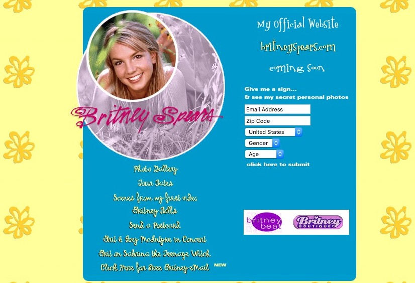 These celebrity websites from the '90s and '00s are everything
