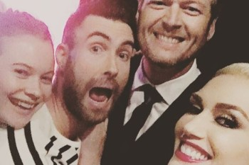 Gwen Stefani, Blake Shelton, Adam Levine and Behati Prinsloo just posed for the most epic of selfies